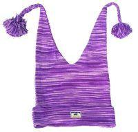Half fleece lined cotton two tail hat Purple