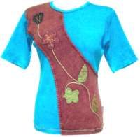 Stonewashed Sash Patch T-shirt Blue