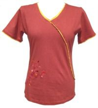 ***SALE*** Embroidered cross over T-shirt terracotta