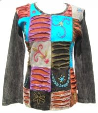 'Cut' and Embroidered Patchwork Top Black