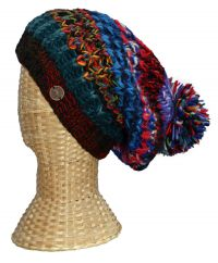 Pure wool half fleece lined chunky rib slouch blue multi tones