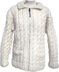 Fleece lined fine wool mix jacket cable Cream