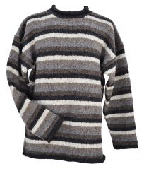 Pure wool hand knit jumper stripe Natural