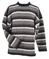 Pure wool hand knit jumper stripe Natural