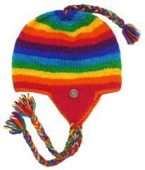 Half fleece lined pure wool stripes ear flap hat Rainbow