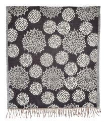 Chrysanthemum Blanket/shawl Black/Grey