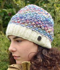 Hand knit blackberry stitch beanie multi-coloured