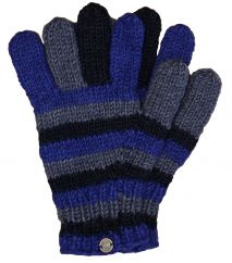Fleece lined pure new wool striped gloves Blue/Grey/Black