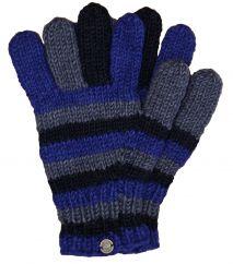 Fleece lined pure new wool striped gloves Blue/Grey/Black
