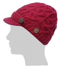 Hand knit half fleece lined cable peak hat Berry