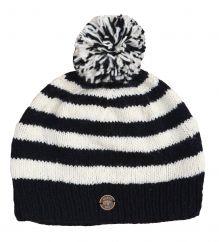 Pure wool hand knit single knit bobble hat Black/white