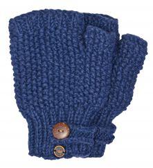 Fleece lined half mitt moss stitch denim blue