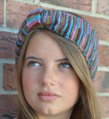 Pure wool Fleece lined headband kaleidoscope pink/brown