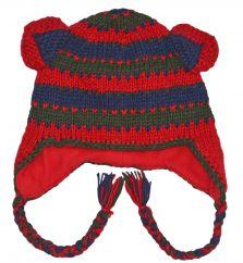 Pure wool half fleece lined ears ear flap red/blue/green