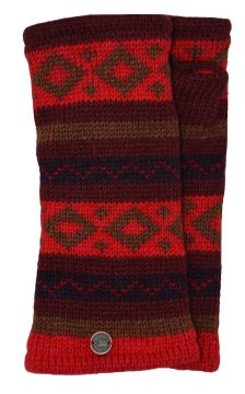 Fleece lined wristwarmer diamond pattern red