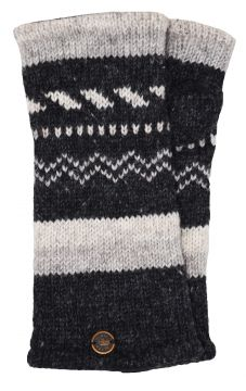 Fleece lined wristwarmer zigzag Charcoal