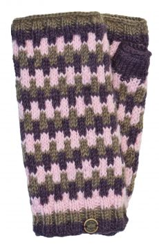 NAYA Fleece lined wristwarmers geometric mink/berry