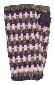 NAYA Fleece lined wristwarmers geometric mink/berry
