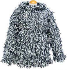 fleece lined shaggy jacket Black / White