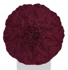 Pure wool half fleece lined citrus cable beret fig
