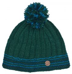 Pure wool half fleece lined ribbed bobble hat emerald