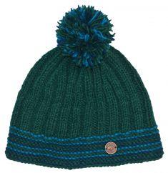 Pure wool half fleece lined ribbed bobble hat emerald