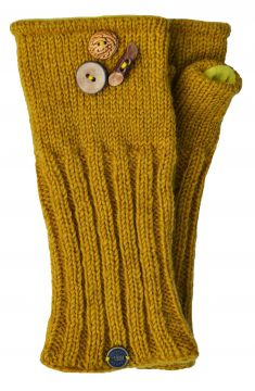 Fleece lined wristwarmer fruit button Mustard
