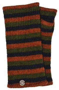 Fleece lined wristwarmer stripe Green/brown/black
