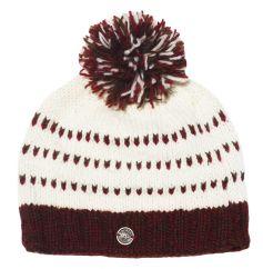 Pure wool half fleece lined double tick bobble hat Brown/Rust