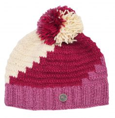 Half fleece lined hand knit reverse ridge bobble hat Berry