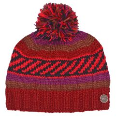 Multi patterned hand knit bobble hat Autumn