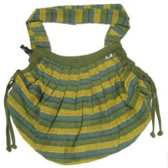 Green Striped  Expandable Cotton Bag