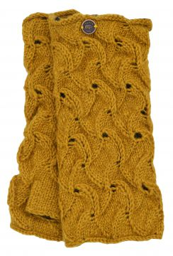 Naya hand knitted scroll wristwarmer mustard