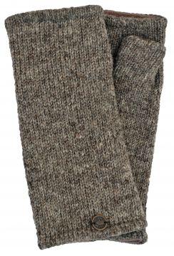 Fleece lined wristwarmer Plain Pale marl brown