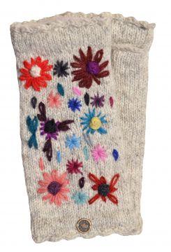 Hand embroidered flower fleece lined wristwarmer