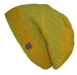Hand knit NAYA diamond bands baggy beanie mustard