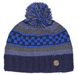 Multi patterned hand knit bobble hat Blues