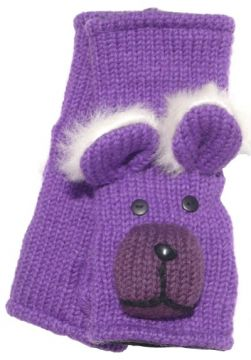 Fleece lined wristwarmer bear Purple