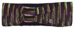 Pure wool Fleece lined headband kaleidoscope purple/green