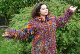 Fleece lined jacket shaggy Rainbow
