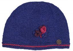 Half fleece lined pure wool three flower beanie Blueberry
