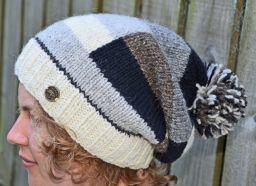 Half fleece lined pure wool random block slouch naturals