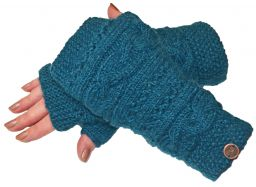 NAYA hand knit sampler wristwarmer Teal