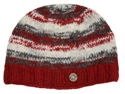 Pure wool half fleece lined electric beanie Red