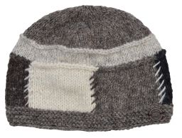 Pure wool half fleece lined large squares beanie Natural greys