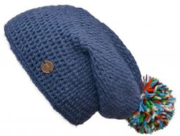 Hand crochet pure wool bobble slouch blue