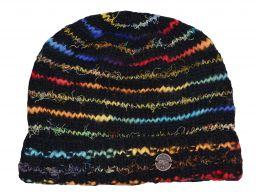 Pure wool soft wool/silk turn up beanie Black/Rainbow