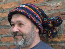 Pure wool half fleece lined seven bobble roll edge beanie Black/Rainbow