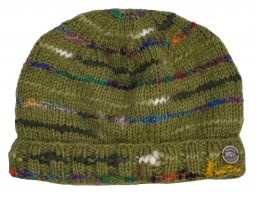 Pure wool half fleece lined soft wool/silk turn up beanie Green