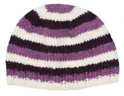 Children's Half fleece lined stripe beanie Purple and white